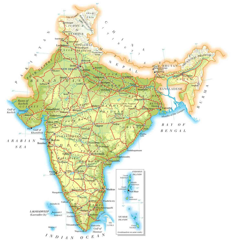 Stati Uniti Cartina Fisica E Politica.India Mappa Cartina Geografica India Stati Nbts Viaggi