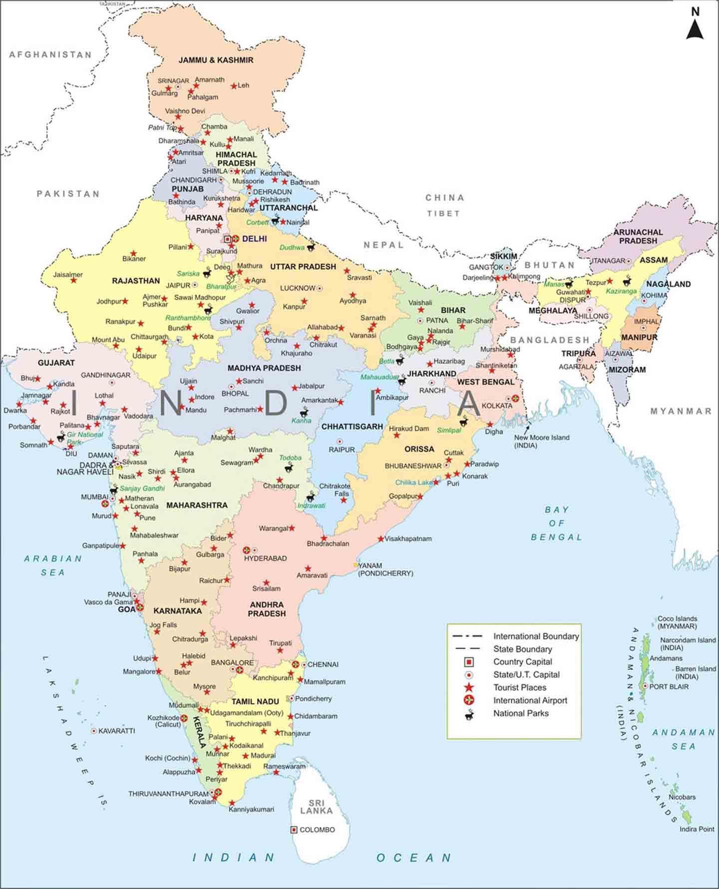 Cartina Dell India Del Nord.India Mappa Cartina Geografica India Stati Nbts Viaggi