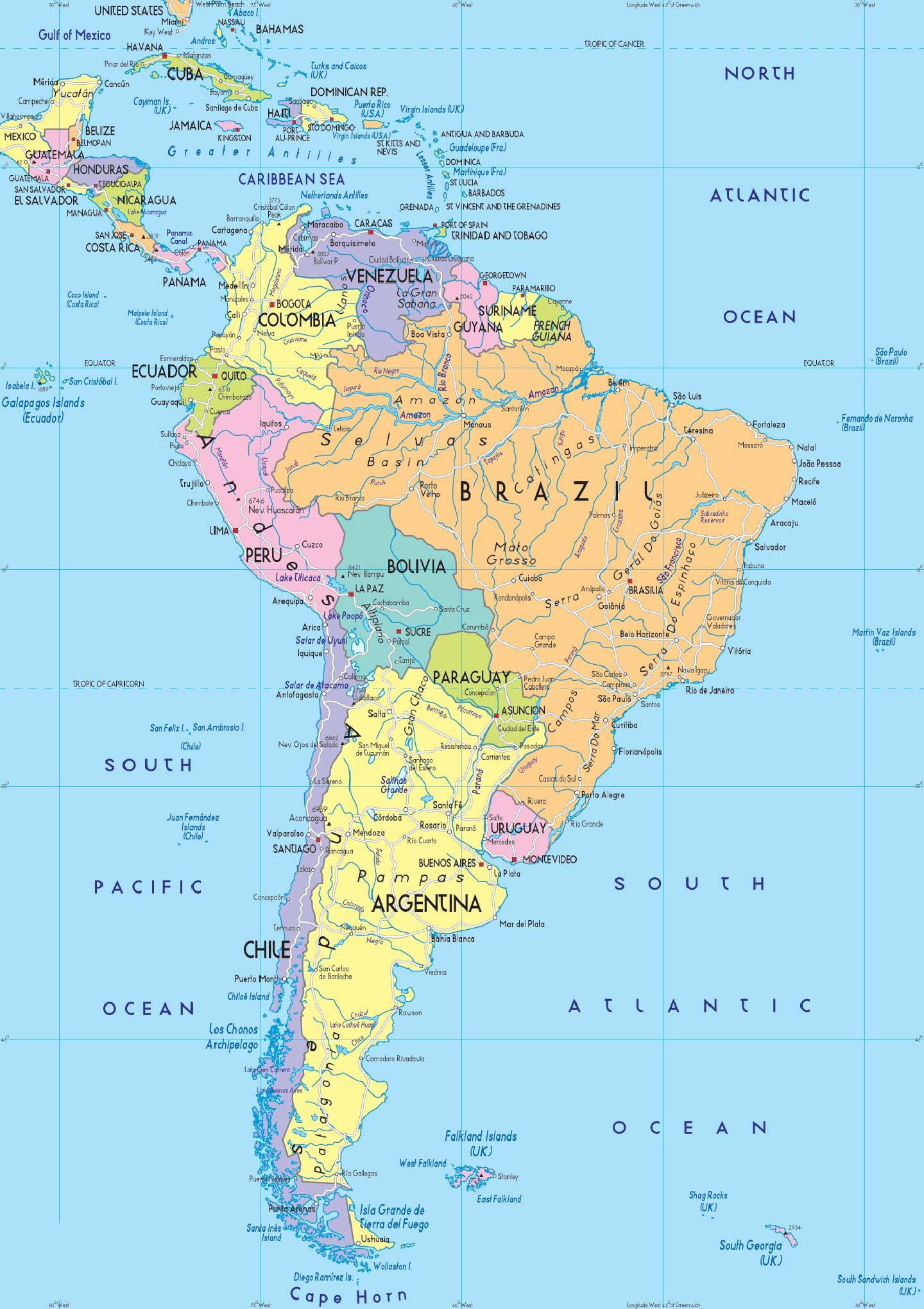 Cartina Fisica Del Nord America.Mappa Sud America Geografia America Nbts Viaggi